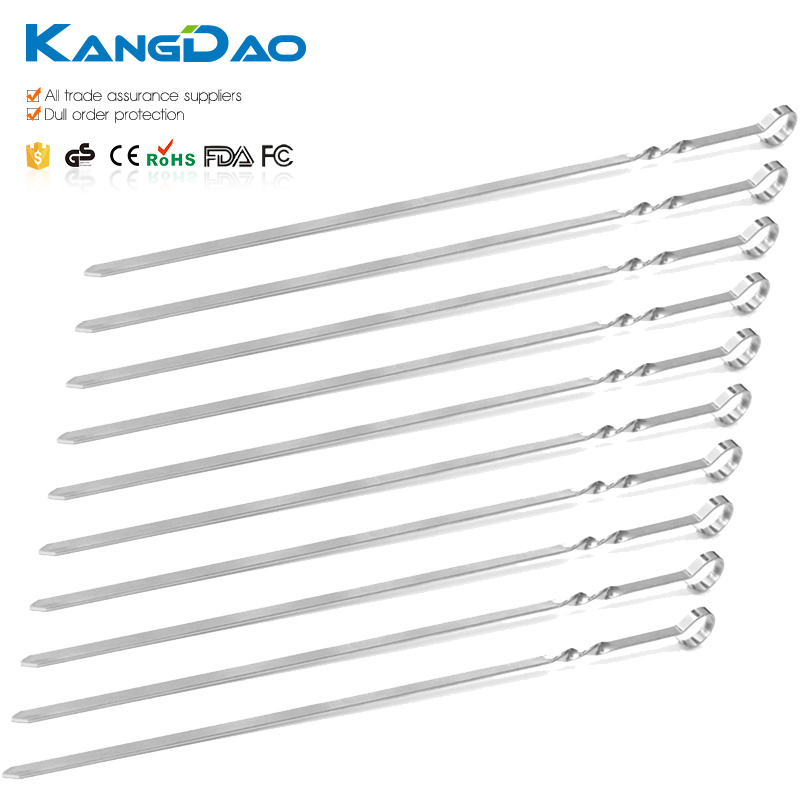Premium Double Pronged Stainless Steel Kebab Skewers BBQ Grill Skewers