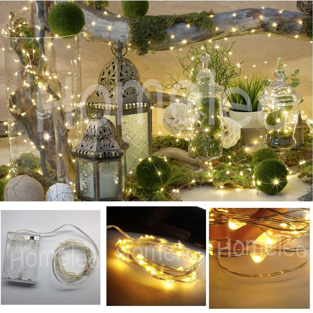 Homeleo 2m 20 Leds Warm White Led Strings 3xaa Battery Operated Mini String Lights Flexible
