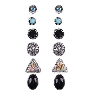 6pairs/set Boho Earrings Antique Silver Color with Rhinestone Red Blue Stone Cute Round Triangle Stud Earrings sets