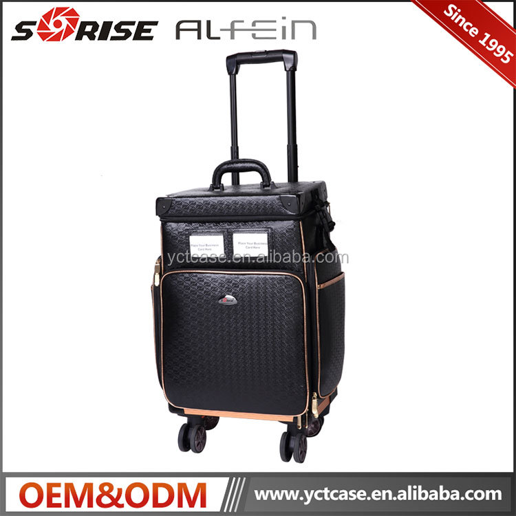 Professional trolley rolling makeup PVC cosmetic case