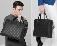 "OEM 100% Genuine Leather Fashion Business Men Briefcase 14"" Laptop Bag Your Logo Embossed Bag"