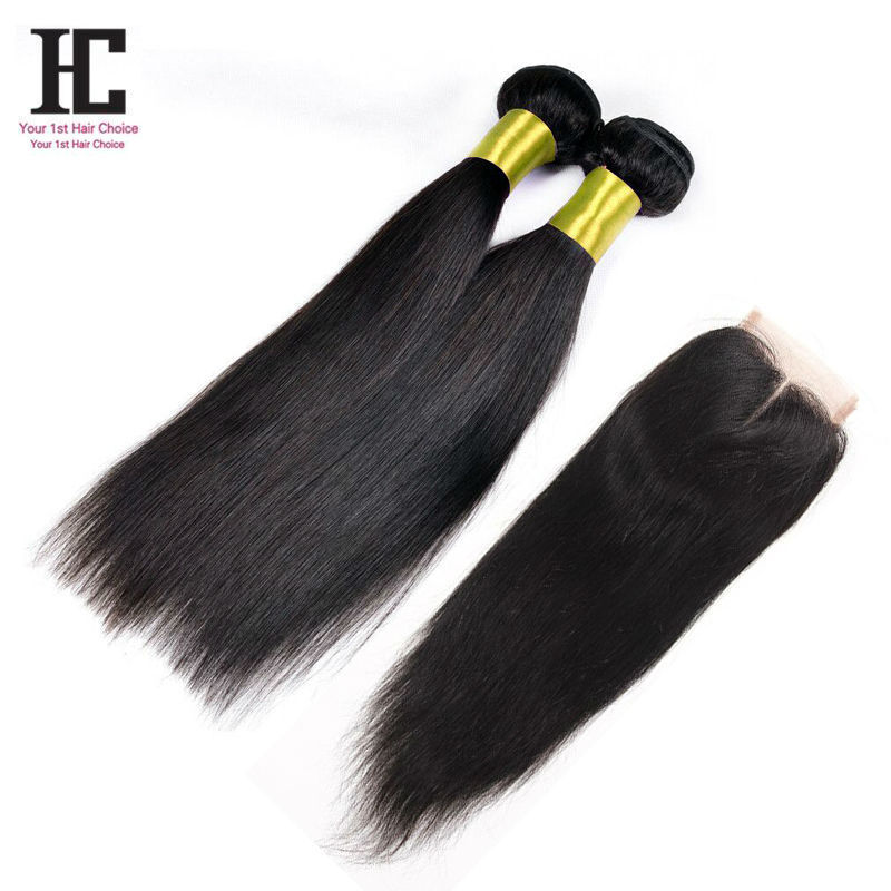 Brazilian Straight Hair With Closure Hair Bundles With Lace Closures 2Bundles Straight 7A Unprocessed Virgin Hair With Closure
