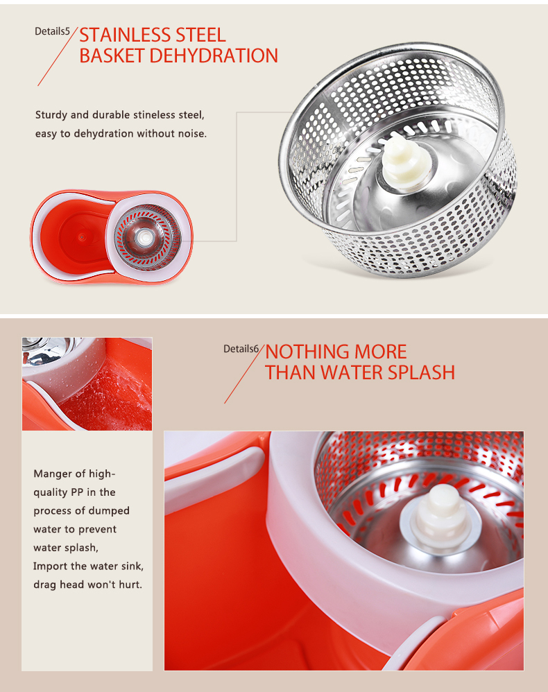 bekahos magic mop stainless steel pole rotating spin 360 degrees floor cleaner