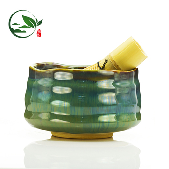 Handmade Chinese Clay Japanese Ceramic Green Glazed Porcelain Ceremonial Matcha Tea Mixing Bowl Bowls Set Wholesale / Chawan