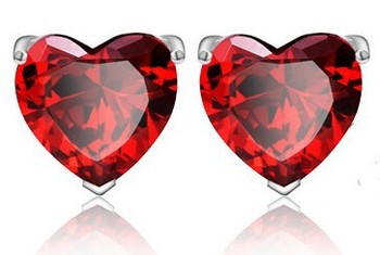 Tryme 3 colors Heart Crystal Earrings Zircon Earring Stub Earring