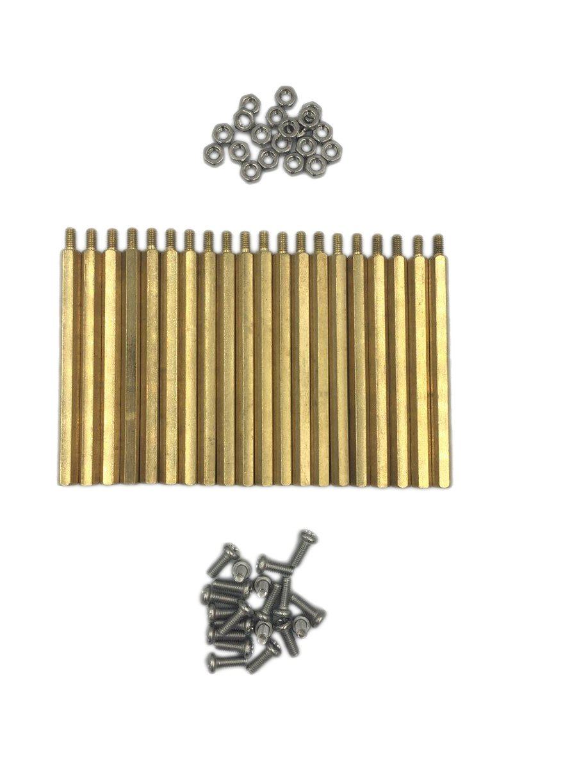 HVAZI 60PCS M3X0.5 60mm+6mm Brass Spacer Standoff/Stainless Steel Screws/Nut ; Male-Female