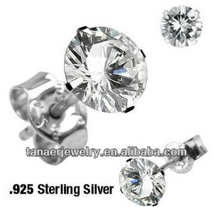 Sterling Silver Cubic Zirconia Stud Silver Earrings