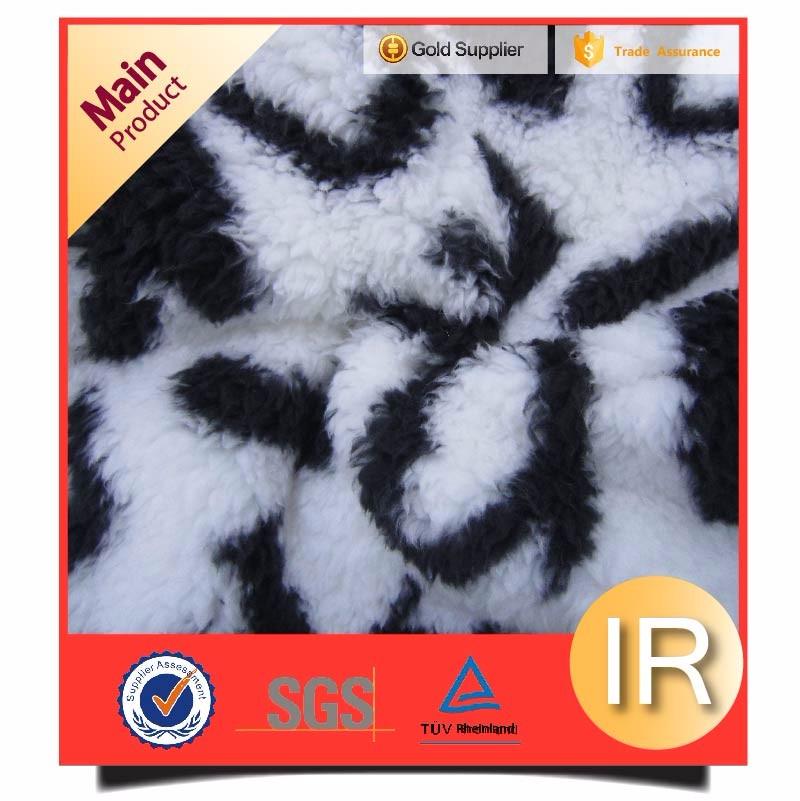 "black and white ""love"" pattern jacquard polar sherpa fleece fabric"