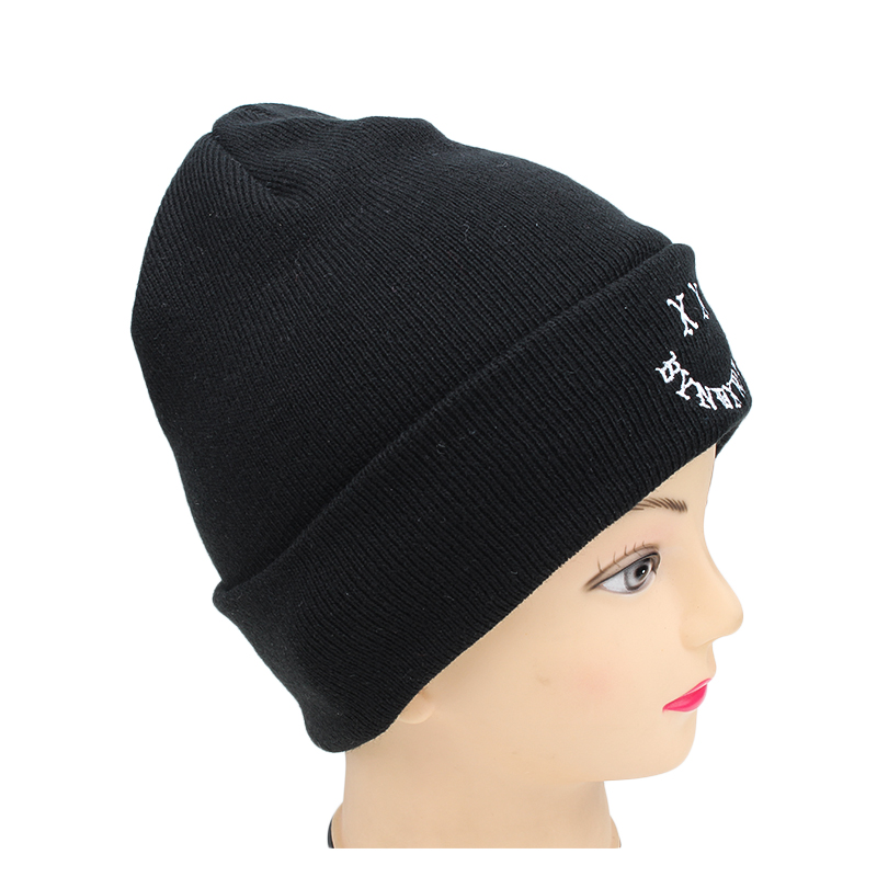 5534f692a40 Custom No Fold Brim Embroidery Winter Acrylic Knitted Beanie Hat ...