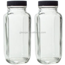 Clear Thick Plated Glass French Square Empty Bottle Jar with Lid - 8 oz