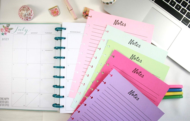 Create 365 Classic Happy Planner Colored Refill Pages, Soda Pop, Classic Happy Planner Notes Refills, Pre-punched Happy Planner Inserts, Pre-punched Notes Refills