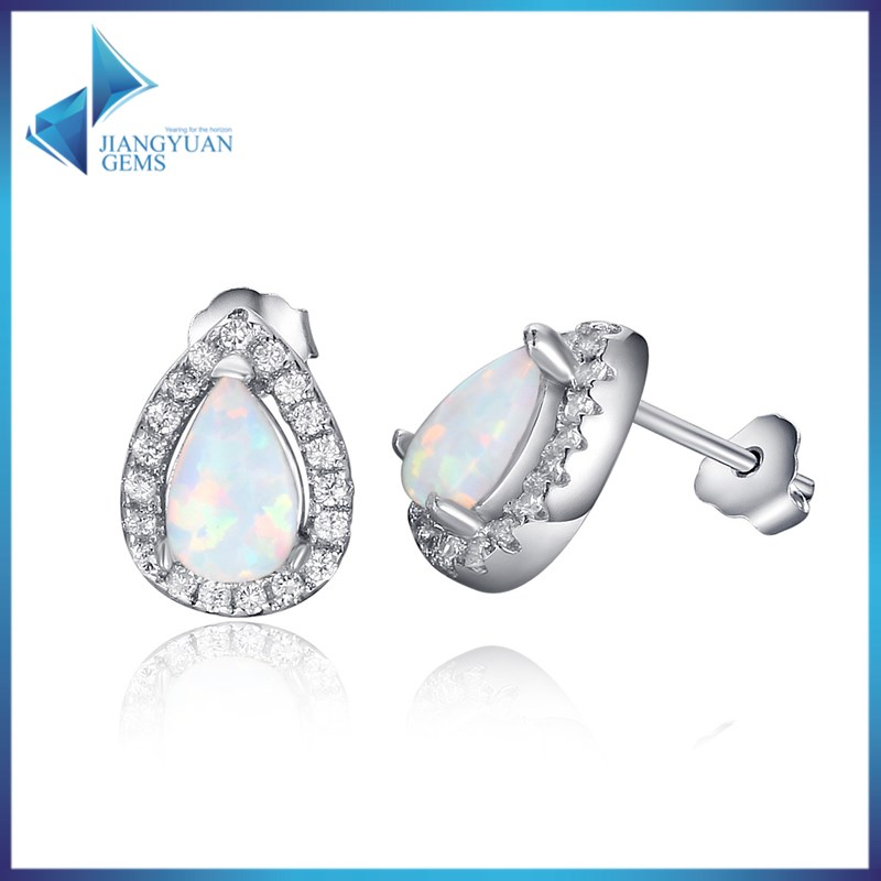 YGD A081 Synthetice Opal beads Jewellery Pear White Opal Stud earring