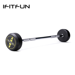 Commercial Use Customized LOGO Weightlifting Rubber Barbell