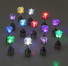 Shining LED Ear Stud/ Colorful Copper LED Flashing Earring for Party