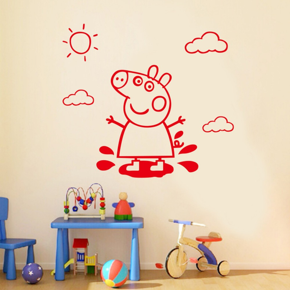 Cute  pig Wall Stickers for kids rooms Wall Stickers Removable Vinyl wall Decor Wall decals Art Poster DIY Home Decor
