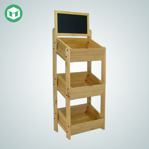 New Design Permanent Wooden Vegetable Display with Advertising Header