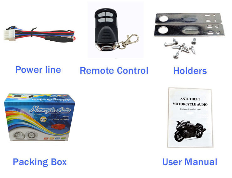 Bass motor mp3 player 2 way motorcycle alarm remote start