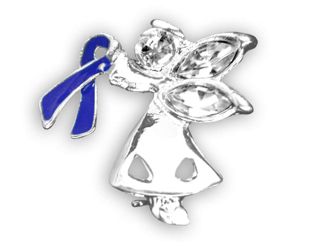 Colon Cancer Awareness Dark Blue Ribbon Angel Pins (Wholesale Pack - 12 Pins)