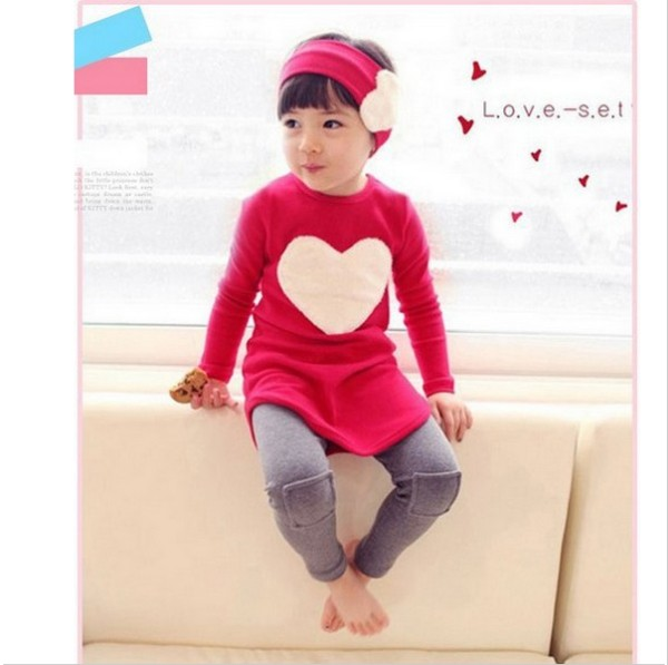 Retail New 2014 girls clothing set Love dress legging headbands 3pc set autumn spring kids clothing set Free Shipping