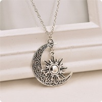 China Supplier Cheap Zinc Alloy Antique Silver Plating Crescent Moon And Start Necklace For Promotion