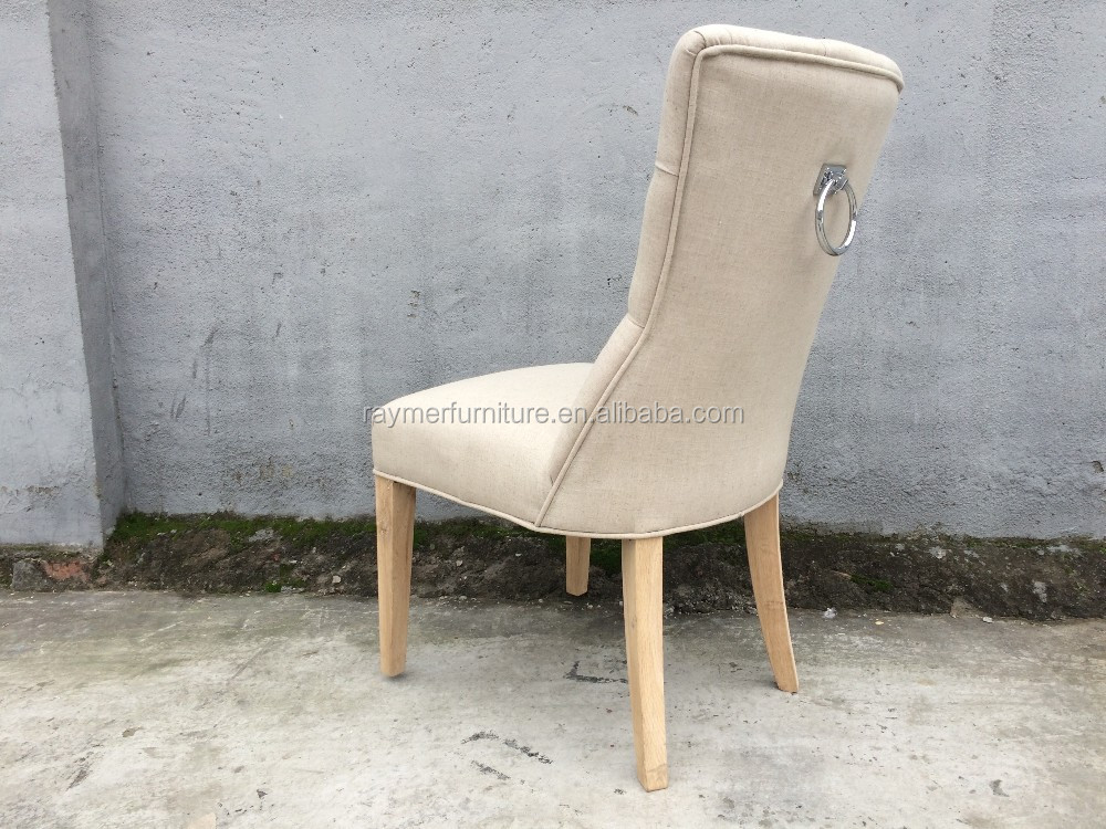 French Beige Linen Tufted Dining Chair Ring Back Chair Hotel Ring Back Chair