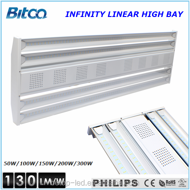 IP65 led high bay lighting 130lm/w hibay light led linear high bay 150w with ul/dlc listed.