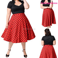 Red Plus Size Graceful Short Sleeve Polka Dot Party Dress For Fat Women