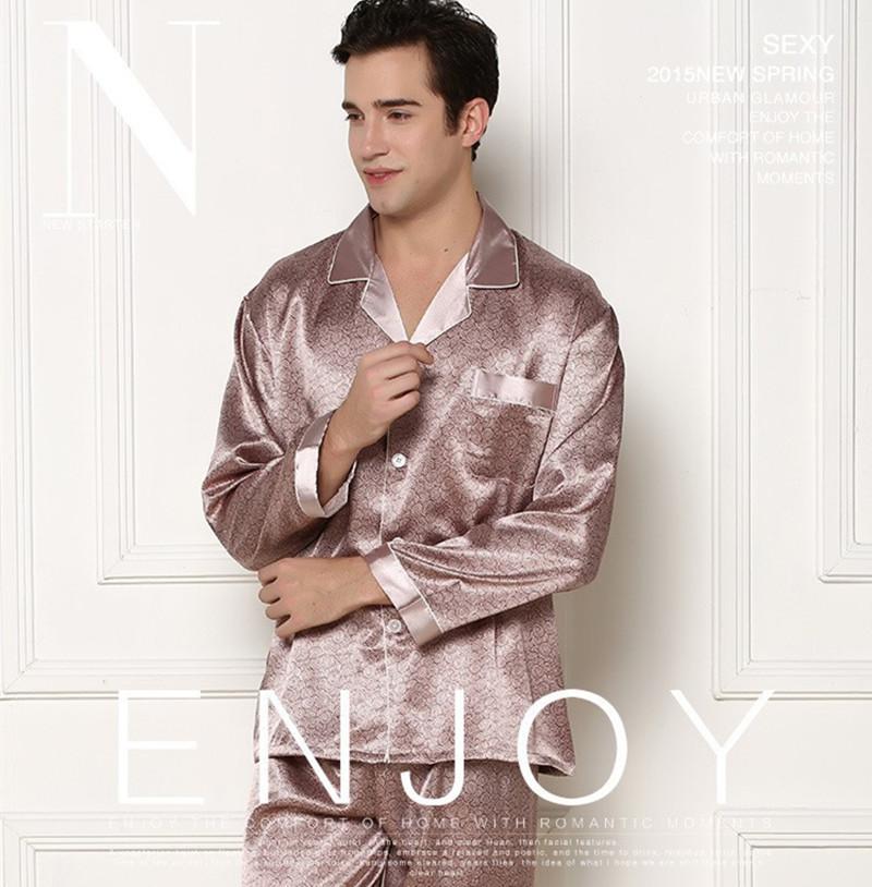 ... 2016 Hot SALE High Quality Mens Satin Pajamas for Spring Autumn Leisure  Homewear Silk Pajamas Set ... 37eba94d1