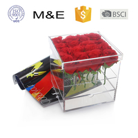 Hot selling Custom Square Flowers Wedding Decoration Flower Box with Drawer