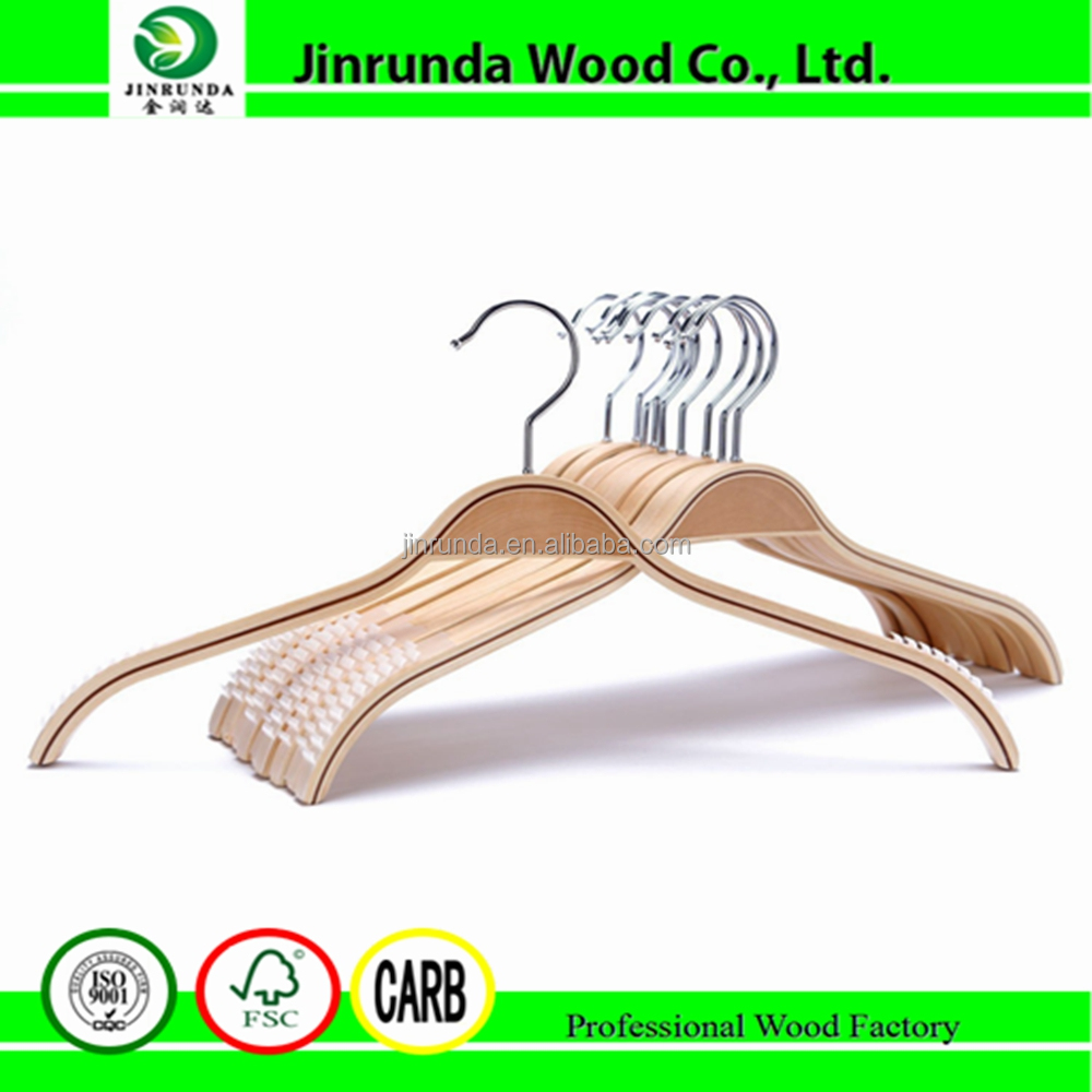 Hanger Durable Wooden Clothes Hangers Natural Finish with Soft Non-slip Stripes