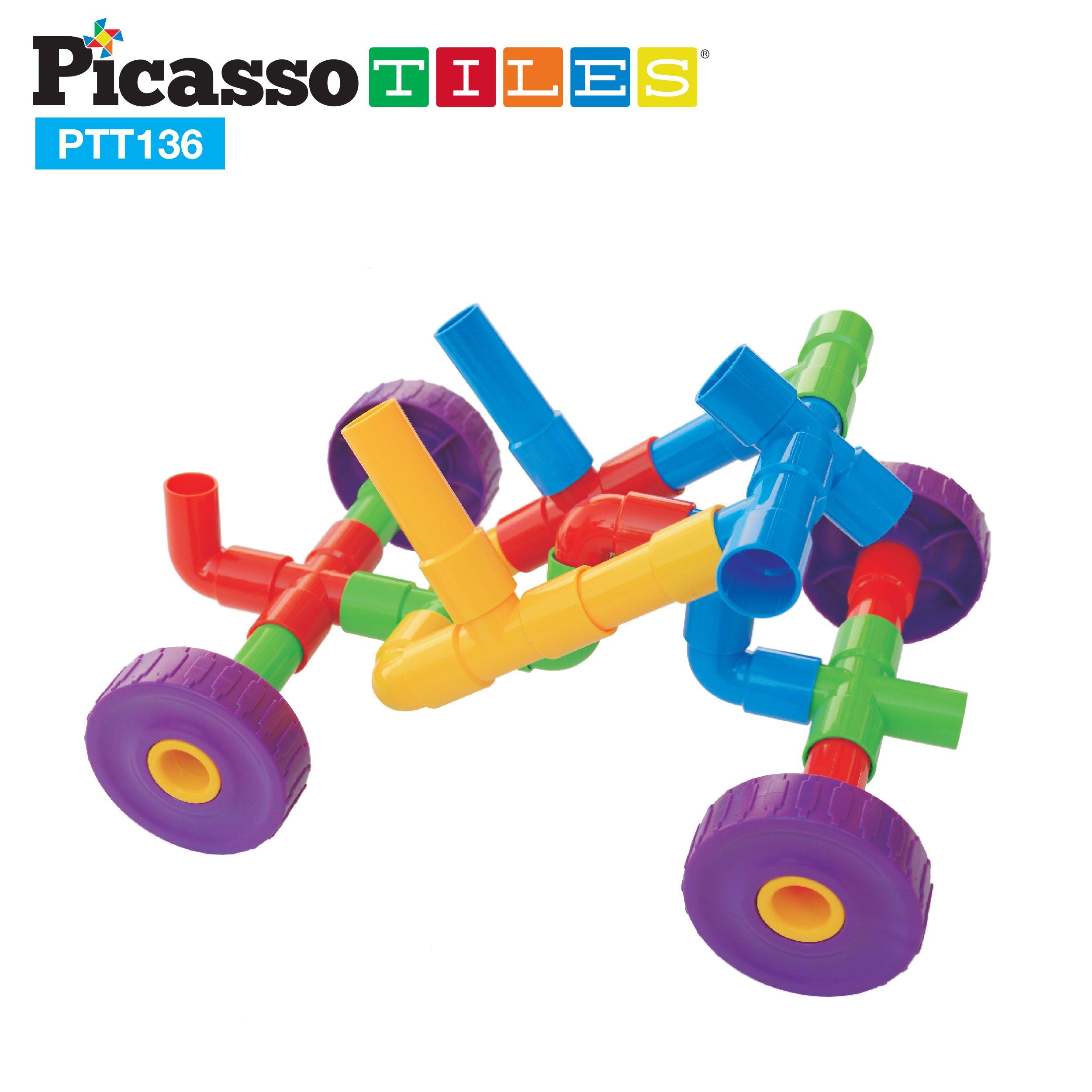 PicassoTiles® PTT136 136pcs Pipe Tube Wheel Building Set w/ Musical Kit, Storage Container Box, Pipeworks Construction STEM Interlocking Block Car Truck Motor Toy Assembling Puzzle Interlocking Flute
