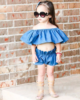 acd67bbfd girl off shoulder denim tops with matching pp pants 2pcs sets baby girl big  cape collar