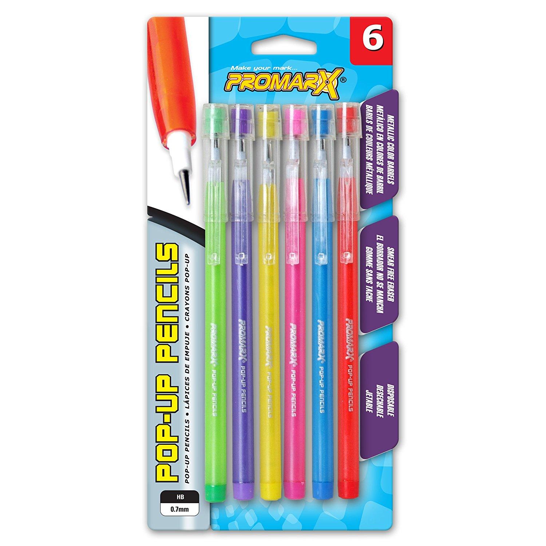 Promarx Metallic Fashion Pop-Up Pencils, 0.7 mm, Assorted Colored Barrels, 6 Count