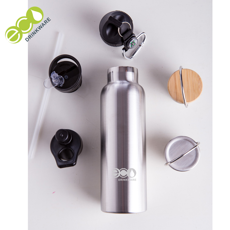 GV013 600ML/13OZ In Stock Double Wall Screwed Lid Stainless Steel Vacuum Insulated stainless steel thermos with bamboo lid