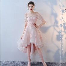 Платья для выпускного вечера It's Yiiya, 2018, кружевные платья для выпускного вечера с коротким рукавом и вырезом лодочкой, вечерние платья LX992(Китай)