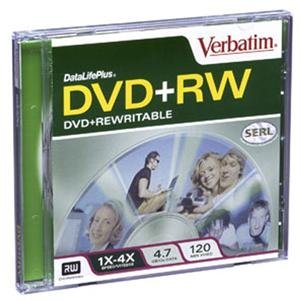 Verbatim Corporation Products - DVD+RW, w/ Jewel Case, 1x-4x Recording Speed, 4.7GB - Sold as 1 EA - DataLife Plus DVD+RW is ideal for combined storage of music, video and data, transfer of video and large capacity data files, Internet downloads and massive archival storage. DVD+RW features Super
