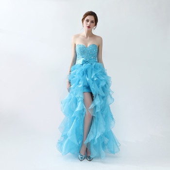 Youthful Sweet Blue Sweetheart Floor Length Piping Bow Sleeveless Zipper Backless Organza Sequins Beaded Women Prom Dress