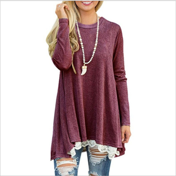 Wholesale Monogrammed Long Sleeves Solid Lace Hem Tunic