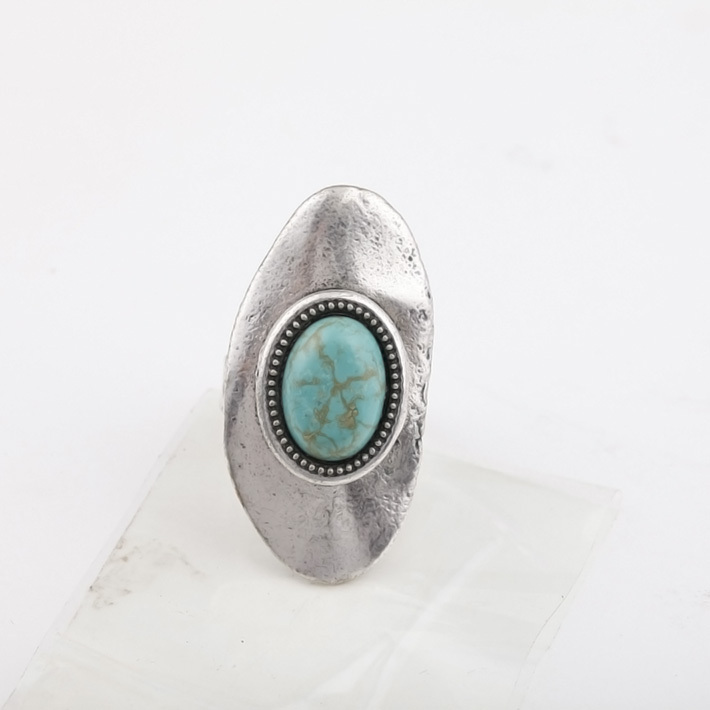 Punk Retro Tibetan Silver Oval Turquoise Rings For Women Bijoux Vintage Metal Finger Ring With Size Resizable Jewelry Whole In Price On