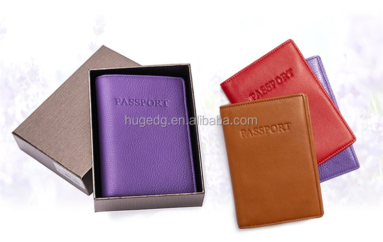 Dongguan colored PU/PVC passport/card holder with gift box