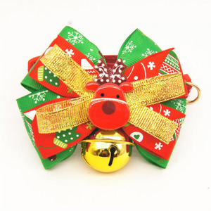 Adjustable Funny Pets Collars Dogs Colorful Reindeer Bowknot Christmas Decorations With Bell