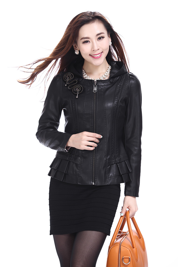 New 2015 Spring autumn brand fashion Casual women's clothing leather jackets women dress leather jackets genuine leather coats