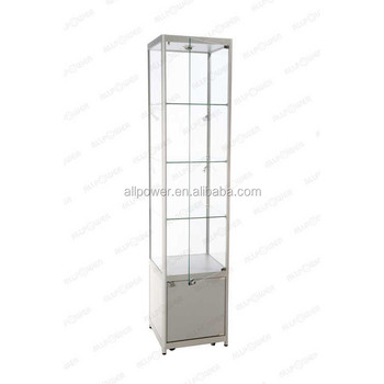 Display Cabinet Lighting Wheeled Glass Vitrine Free Moving Tower Showcase