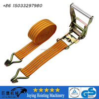CE GS ISO Certified 50mm 5tons Ratchet Lashing Strips With Double J Hooks