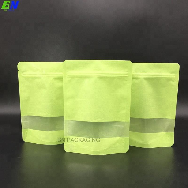 Biodegradabile stand up zip blocco di riso sacchetto di carta con finestra per uno spuntino di imballaggio