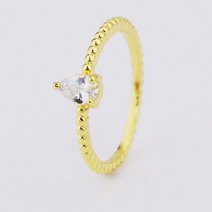 gold plated jewely one stone zircon ring designs for girls