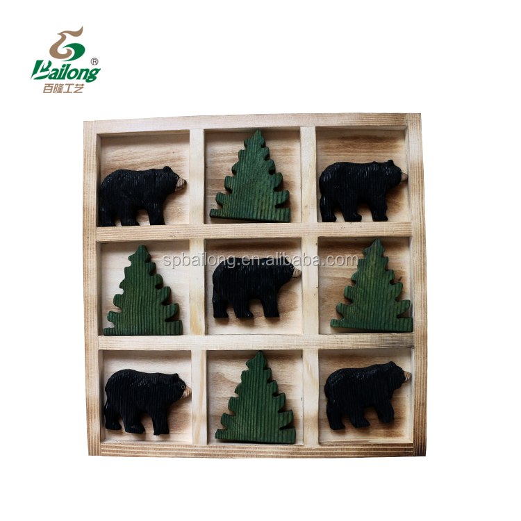 15 years factory hand made kids toy rustic animal wooden tic tac toe