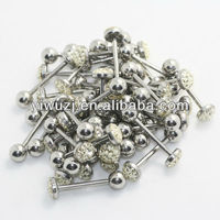 stock stainless steel barbell disco ball paved crystal tongue rings