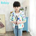 Colorful Little Kid Girls Printed Windbreaker Jacket Windproof Hooded Coat Waterproof Full Zipper Jacket with Two