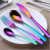 Middle east dinnerware hot selling turkish tableware high quality stainless steel iridescent flatware